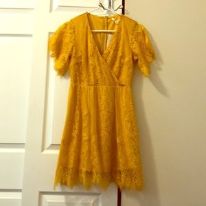Golden yellow lace cocktail dress